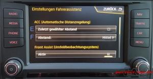 Infotainment-System Einstellungen Automatische Distanzregelung ACC